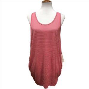 NWT Free People Pink Gray Stripe Tunic Tank Top